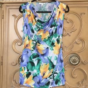Dress Barn Tropical cowl-neck stretchy top nwot M
